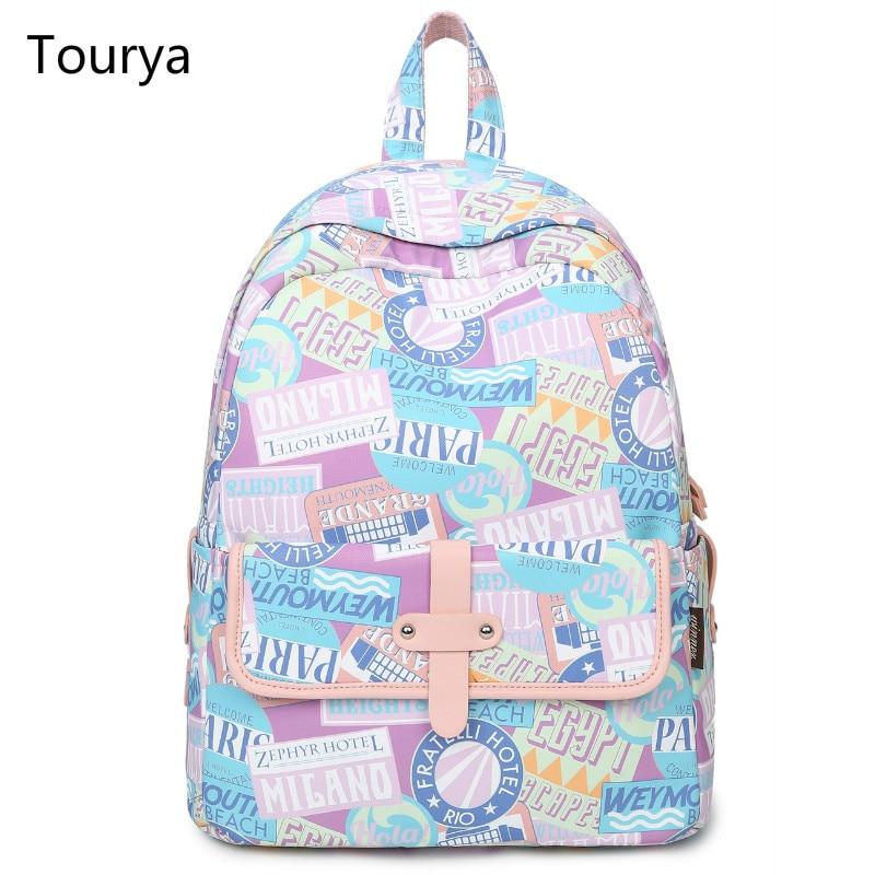 Tourya Fashion Backpack Women Printing Backpacks School Bags Bookbag for Teenagers Girls Laptop Travel Rucksack Mochila Feminina rucksack school bag laptop backpacks for teenage girls printing backpack travel bag mochila feminina oxford large capacity