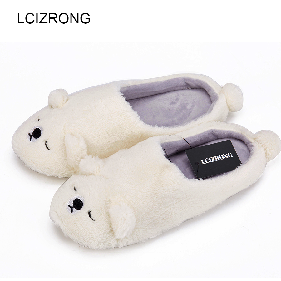 LCIZRONG Cotton Women Bear Penguin Slippers Soft Comfortable Non-slip Animal Slippers Indoor House Family Slipper Large Size lcizrong women brown bear plush home slippers non slip large size family animal slipper woman indoor shoes house slippers