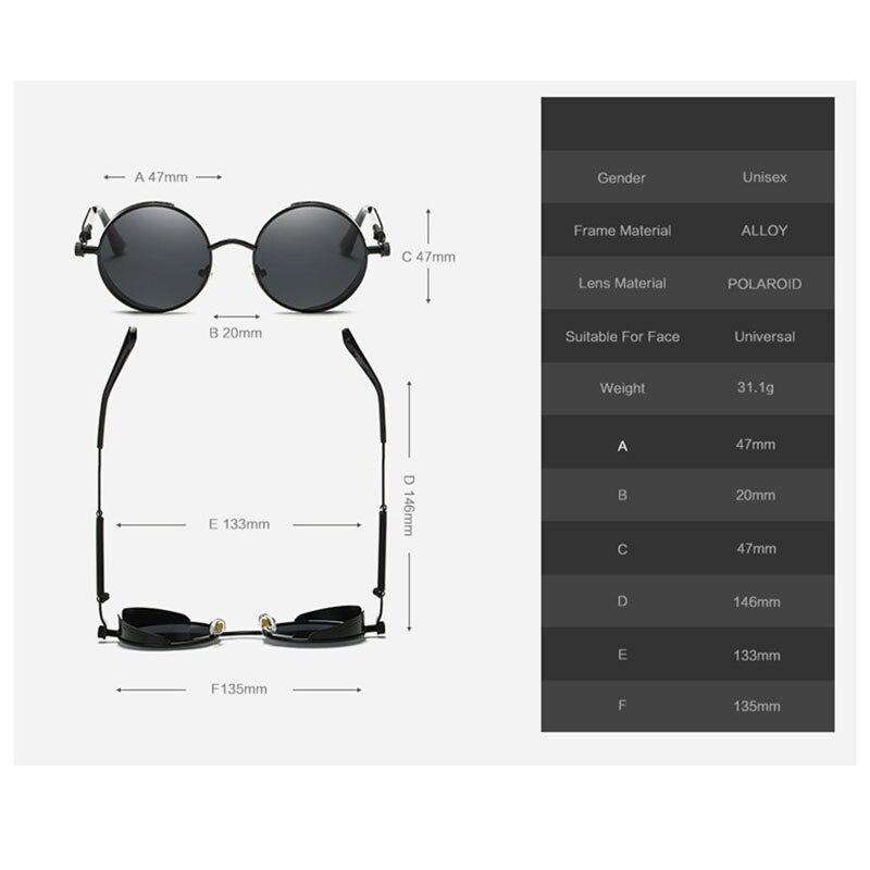 VEGA Polarized Steampunk Sonnenbrille Männer Frauen Runde Gothic - Bekleidungszubehör - Foto 6