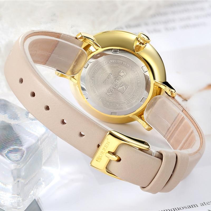 Image 5 - Top Brand CURREN Women Watches Pink Leather Wristwatch with Rhinestone Ladies Clock Fashion Luxury Quartz Watch Relogio Feminino-in Women's Watches from Watches