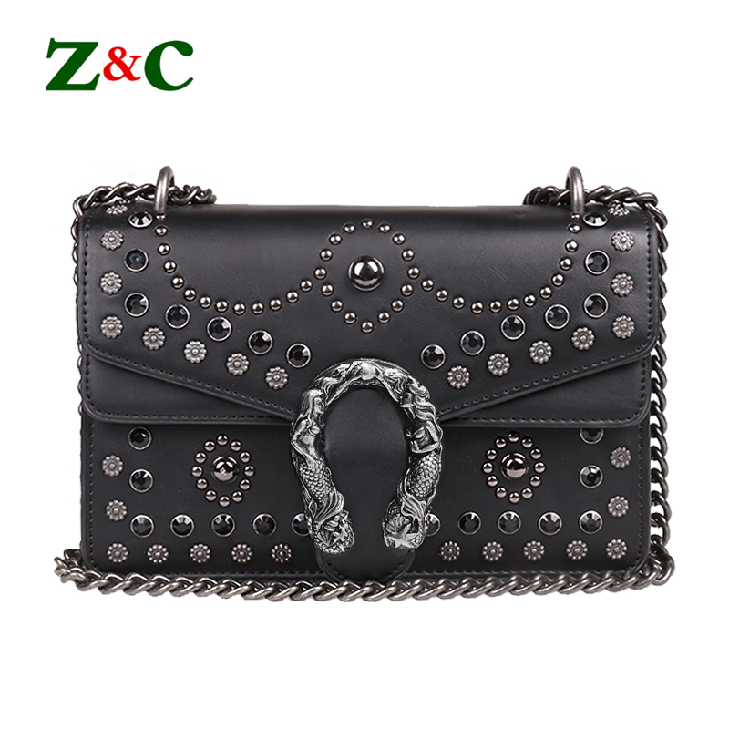 купить Luxury Brand Rivet Chain Casual Shoulder Messenger Bags Women Leather Bag Gem Famous Designer Handbag Ladies Flap Motorcycle Bag по цене 3830.98 рублей