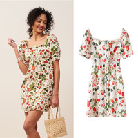 New style restoring ancient ways hubble bubble sleeve party led backless strawberry G0521 printed dresses