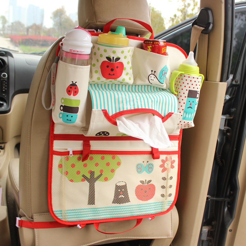 Car Storage Bag Thickened washable cartoon cute car seat bag pouch bag Child Paper Napkin Debris Bottle Hanging Bag