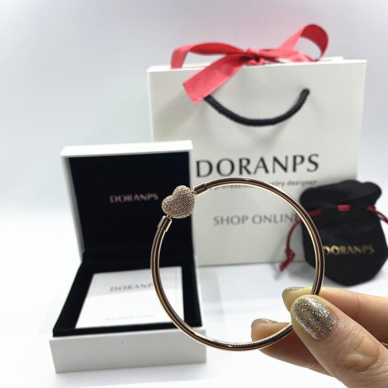 9110ab72bab3 2019 новый роскошный бренд не выцветает 100% Серебряная цепочка сердце роза  браслеты