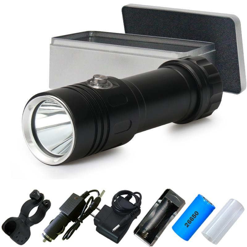 100m underwater flashlights lamp scuba led torch flashlight rechargeable 26650or18650 battery cree xm l2 waterproof 5000 lumens(China)