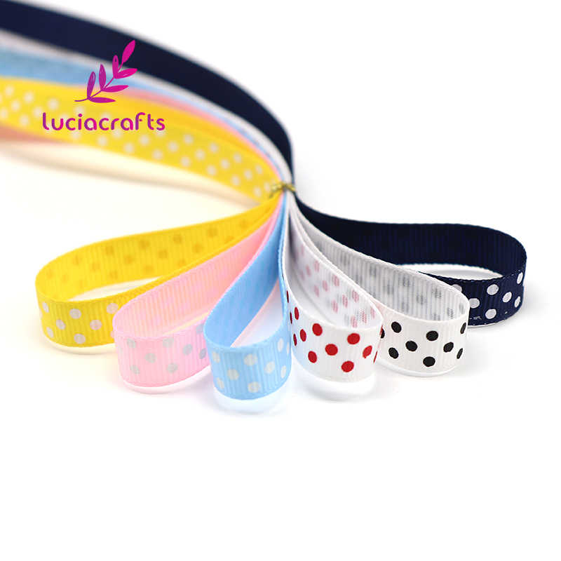 "Lucia หัตถกรรม 5 หลา/lot 3/8 ""10 มม. พิมพ์ Grosgrain ริบบิ้น Handmade Trim อุปกรณ์เย็บผ้า DIY Headwear วัสดุ s0102"