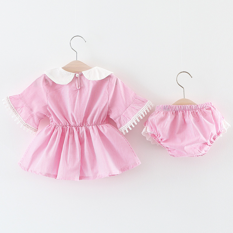 Summer Baby Girls Infants Striped Flare Sleeve Tutu Dress+PP Shorts Bloomers Diaper Cover Pant 2pcs Princess Clothing Sets S5037