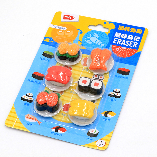 creative cute sushi food card eraser student stationery erasers rubber eraser suit