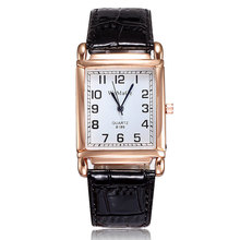Women WOMAGE Classic Square Shape Figure PU Watchband Wristwatch Quartz
