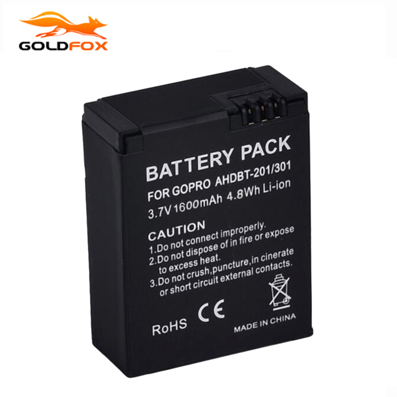 1pc 1600mAh for GoPro AHDBT-201/301 Camera Battery for Gopro Hero 3 3+ AHDBT-301, AHDBT-201 battery for go pro Accessories maxell er17 33 non rechargeable 3 5v 1600mah battery