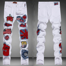 2015 Autumn New Arrival American UK Flag Patchwork Fashion Designer Jeans For Men,Mens Slim Fit Slightly Straight  White Jeans