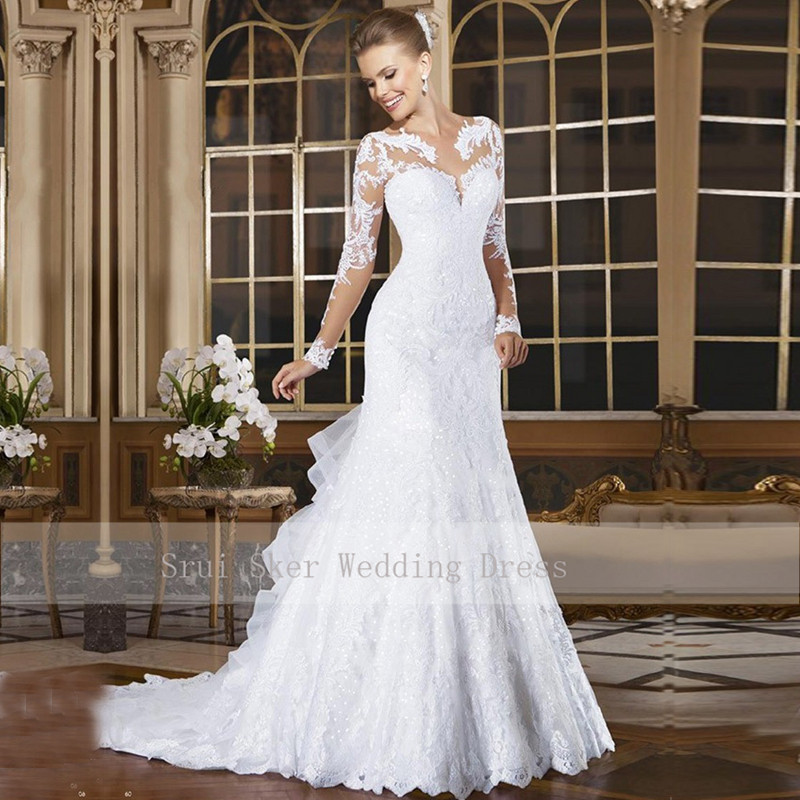 Custom Sweetheart Appliques Lace Illusion Long Sleeve Wedding Gowns Vestido De Noiva 2019 Mermaid Wedding Dress With Buttons