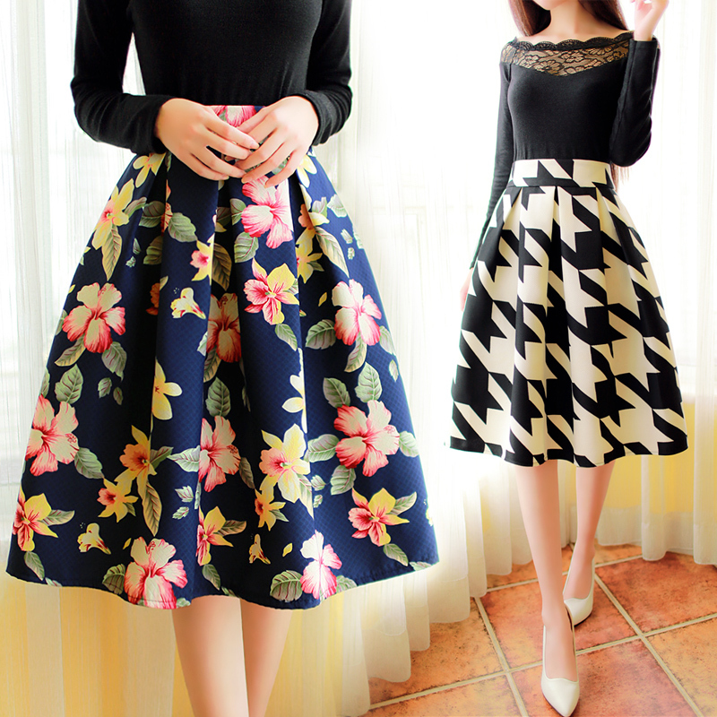 89581c2311 Vintage Floral Print Knee Length Spring A line Pleated Skirt-in ...