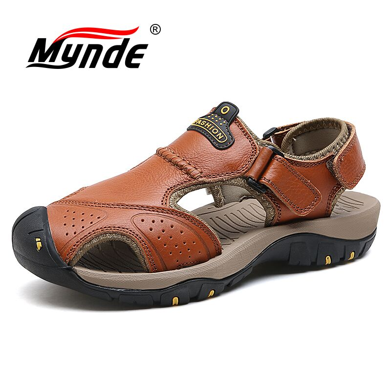 Mynde 2019 New Men Summer Sandals Genuine Leather Brand New Beach Men Sandals Breathable Slippers High Quality Men Casual ShoesMynde 2019 New Men Summer Sandals Genuine Leather Brand New Beach Men Sandals Breathable Slippers High Quality Men Casual Shoes