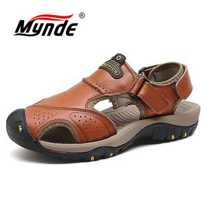 Image 1 - Mynde 2019 New Men Summer Sandals Genuine Leather Brand New Beach Men Sandals Breathable Slippers High Quality Men Casual Shoes