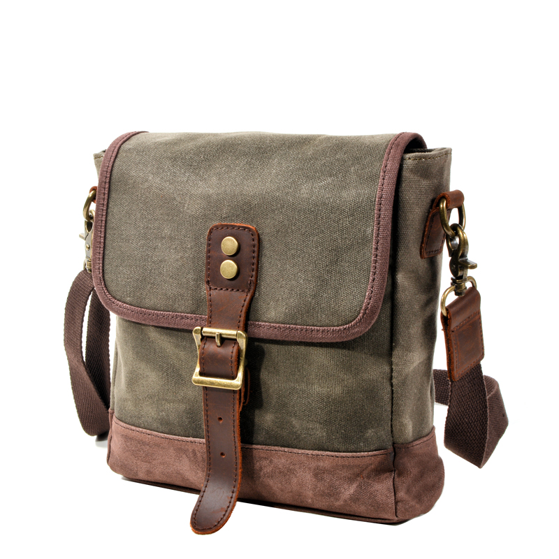 Olive Green Waxed Canvas Everyday Purse Sling Shoulder Bag