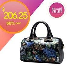 QISU frauen handgemalte handtaschen dame einzigen schultergurt floral umhängetasche