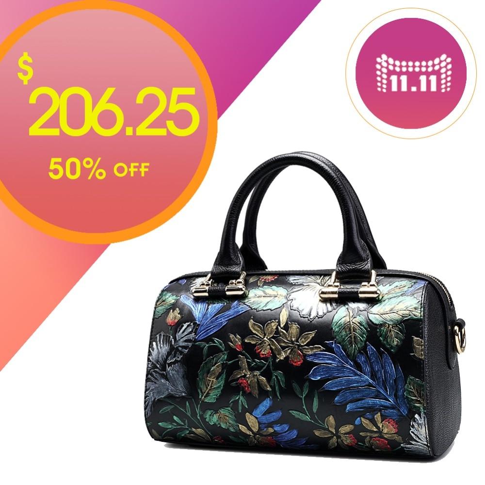 QISU Women's hand painted handbags lady single shoulder strap floral messenger bag