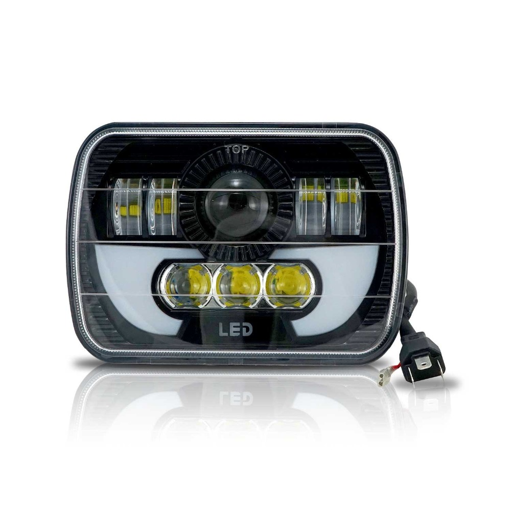 Marloo Demon LED Projector Headlight 7x6 5x7 Inch DRL H6054 Wrangler YJ Cherokee XJ Trucks headlamp Seal Beam Conversion 1 Lamp