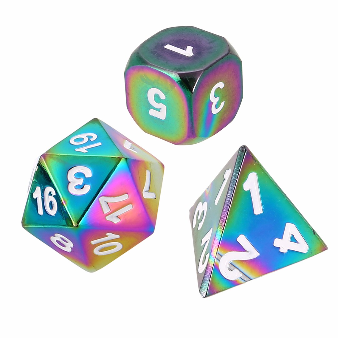 Top 7Pcs/Set Dazzling Rainbow Polyhedral Zinc Alloy Dices Set DND RPG MTG Role Playing Board Game Table Gaming Dices With Bag