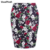 USUALYEAH High Waist Skirts Women Floral Print Chic Slim Pencil Skirt Female Vintage Sexy Midi Skirt