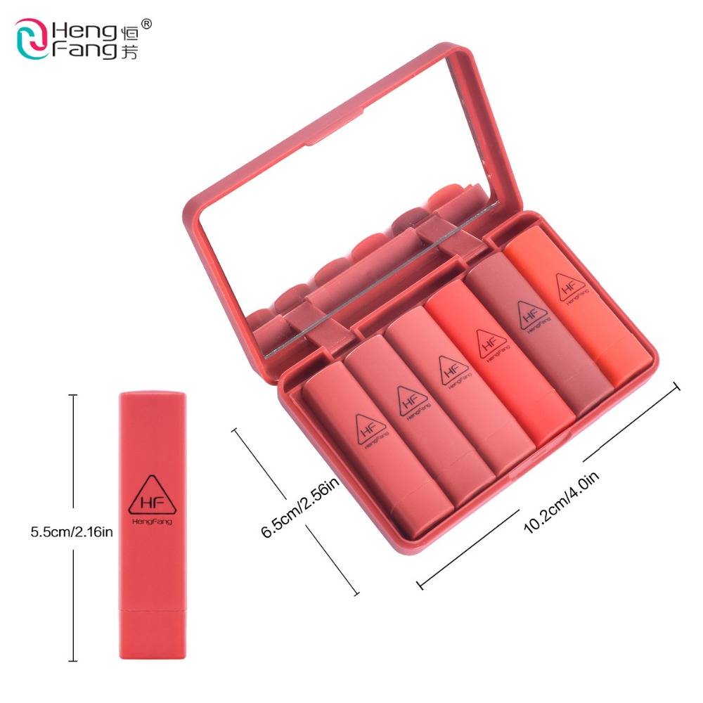 Brand HengFang 6 Colors Set Long lasting Moisturizer Lipstick Red Colors With Mirror Lips Makeup 9081 in Lipstick from Beauty Health