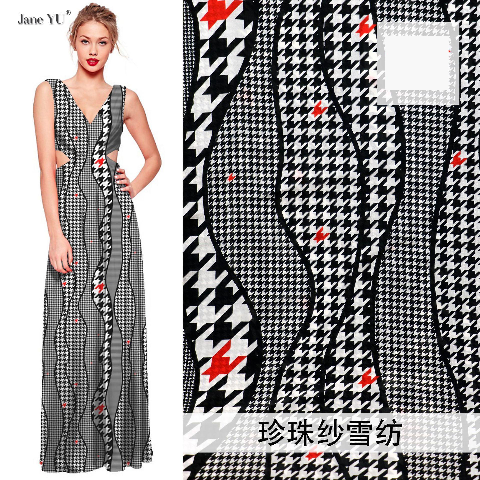 JaneYU 200x150cm 2019 nouveau tissu mousseline de soie imprimé robe tissu usine fournitures tissu mousseline de soie