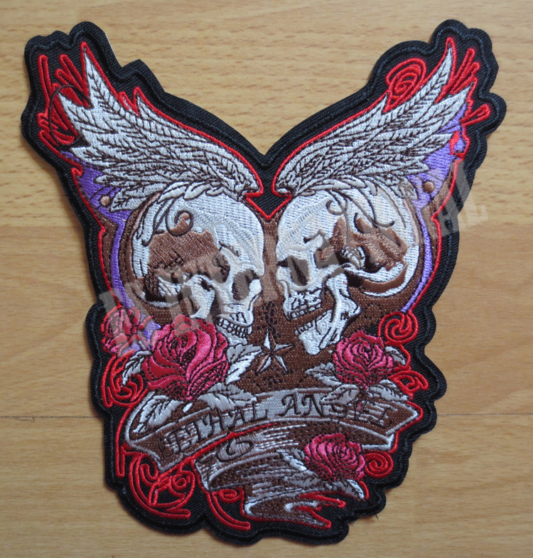 Rose Skull Angel Middle size Embroidery Patches for Jacket Back Vest - Arts, Crafts and Sewing