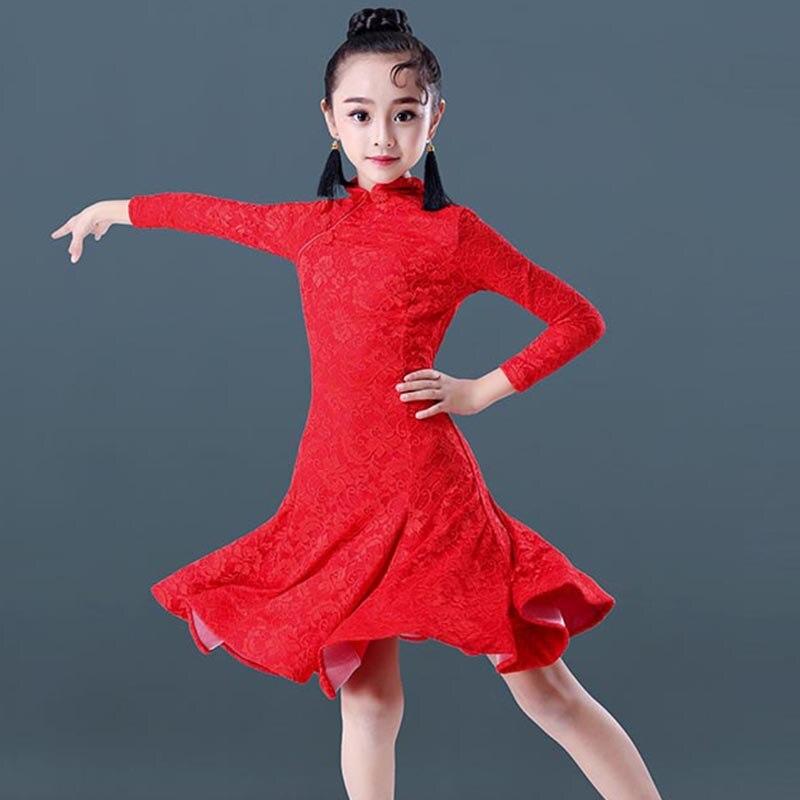 Latin Dance Dress Kids Red Long Sleeve Cheongsam Collar Girls Competition Performance Wear Rumba Cha-Cha Samba Dresses DN3072