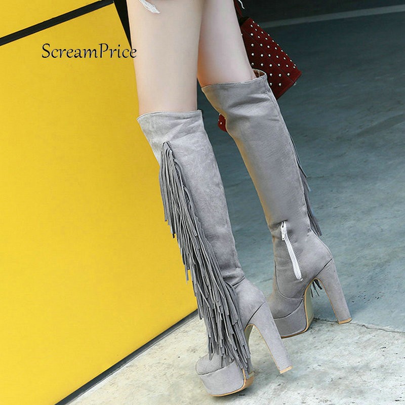 Women Faux Suede Side Zipper Knee High Platform Boots Fashion Fringe Thick High Heel Winter Warm Boots Black Red Gray