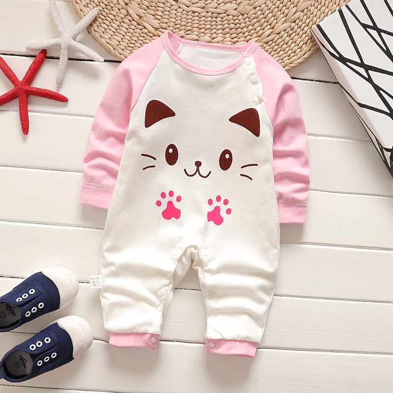 цена fashion baby boys romper cute cat print toddler baby romper long sleeve warm baby girl cotton clothes Infant girl winter romper