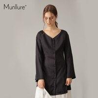Munllure oryginalny design czarny Szyfon paskiem sukienka kobiety sexy sukienki Jesień robe longue