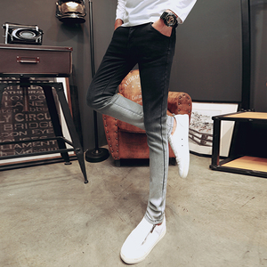Image 3 - Korean Summer Skinny Jeans Men Gradient Color Thin Men Jeans Streetwear Fashion Slim Fit Denim Pants Men Clothes 2020