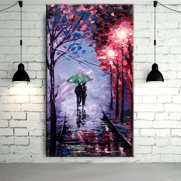 √Abstract Wall Art Handmade Romantic Colors Purple Background Oil ...