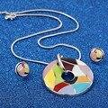 Luxo partido dubai conjuntos de jóias para as mulheres de Prata banhado esmalte padrão de Geometria Brinco & Colar Pingente frete grátis