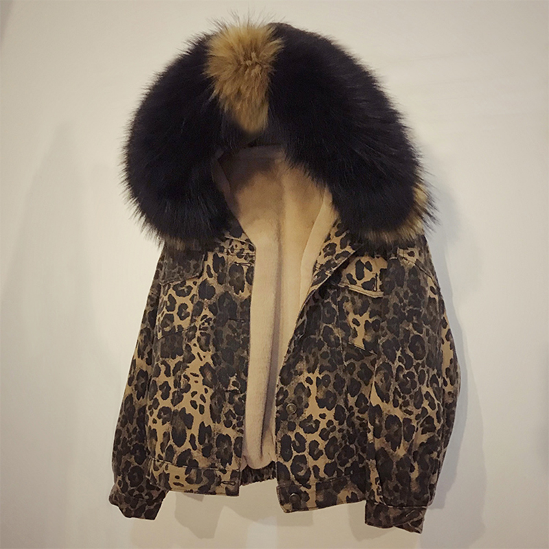 women parka Leopard animal skin pattern long sleeve retro vintage Big fur winter coat thickened parka Real fur collar jacket