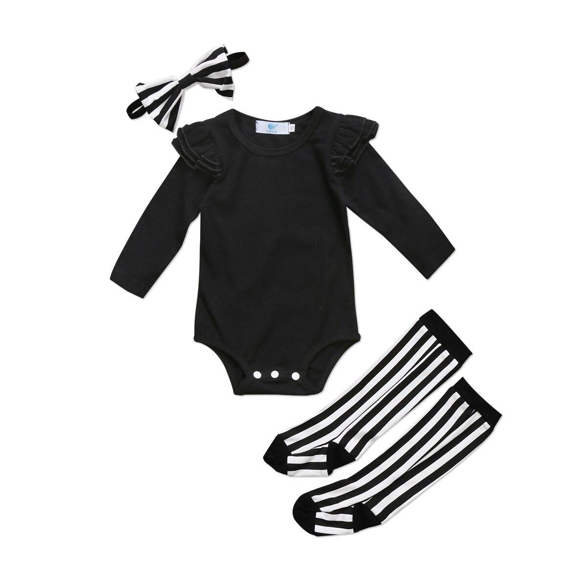 2017 Cool Zwart Gestreepte Pasgeboren Baby Baby Meisje Katoenen Playsuit Romper Been Warmer Outfits Voor Een Soepele Overdracht