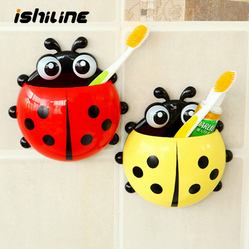 Ladybird Strong Suction For Firm Fixation Colorful Toothpaste Bathroom Sets Tooth Brush Container Ladybug Toothbrush Holder