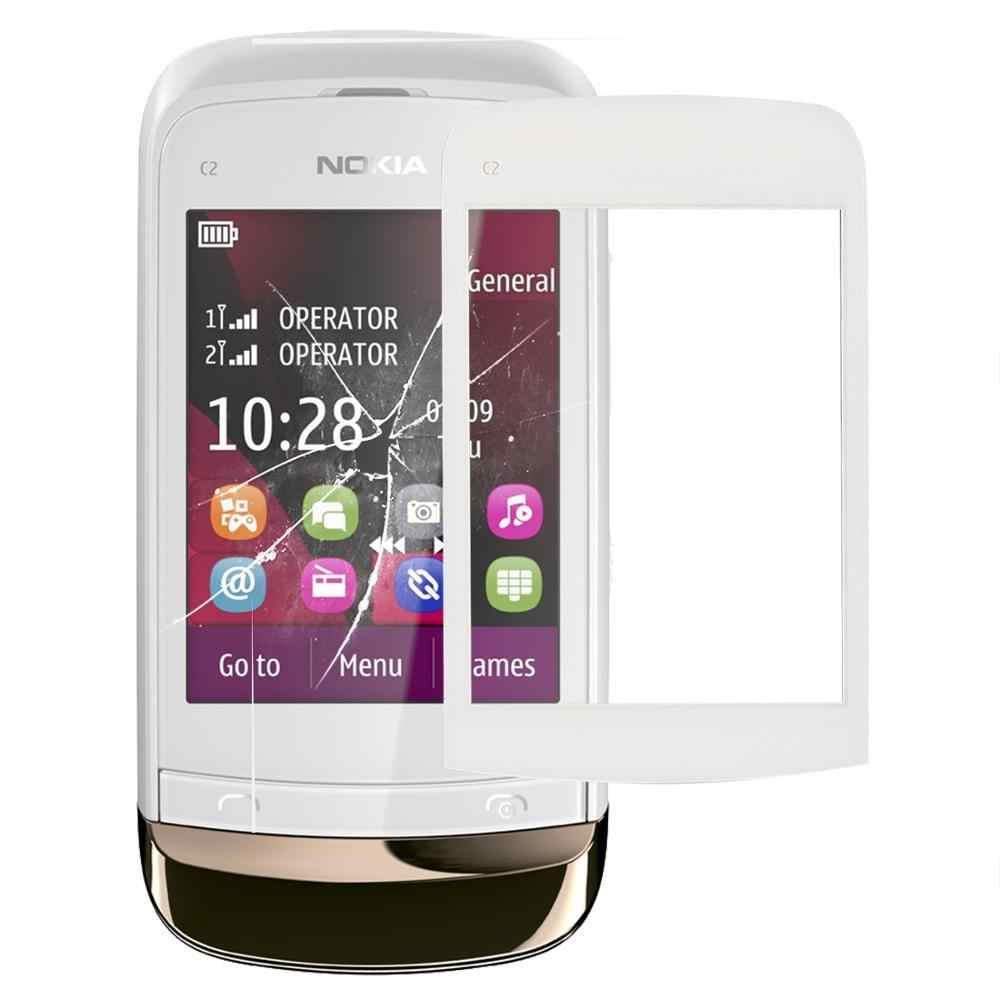 شاشة تعمل باللمس لوحة اللمس ل نوكيا C2 محول الأرقام بشاشة تعمل بلمس الاستشعار عدسة الزجاج الأمامي استبدال