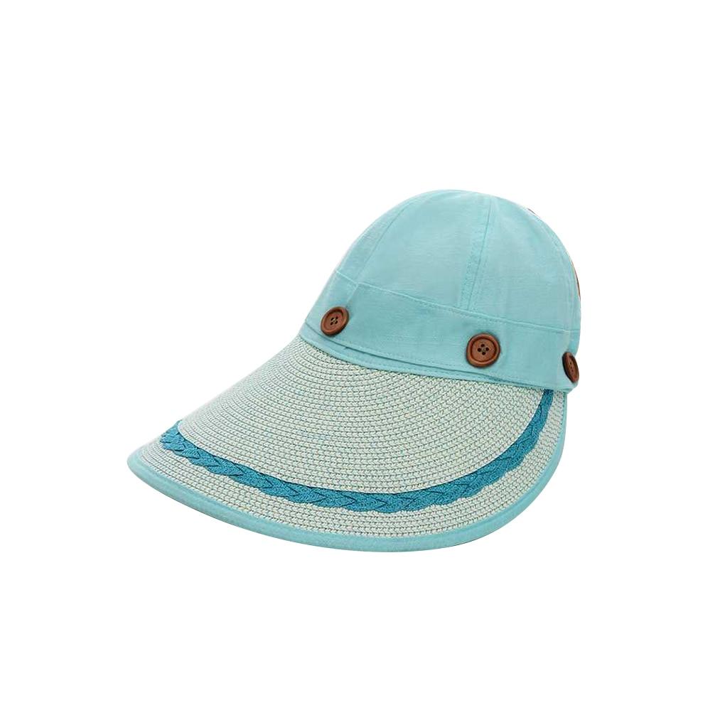 Cute Outdoor Lebar Besar Topi Musim Panas Tabir Surya Topi Matahari Pantai  Anyaman Topi Jerami Tombol e9810b07de