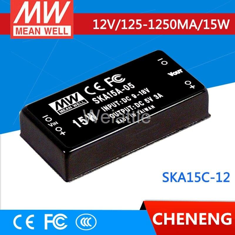 цена на MEAN WELL original SKA15C-12 12V 1250mA meanwell SKA15 12V 15W DC-DC Regulated Single Output Converter