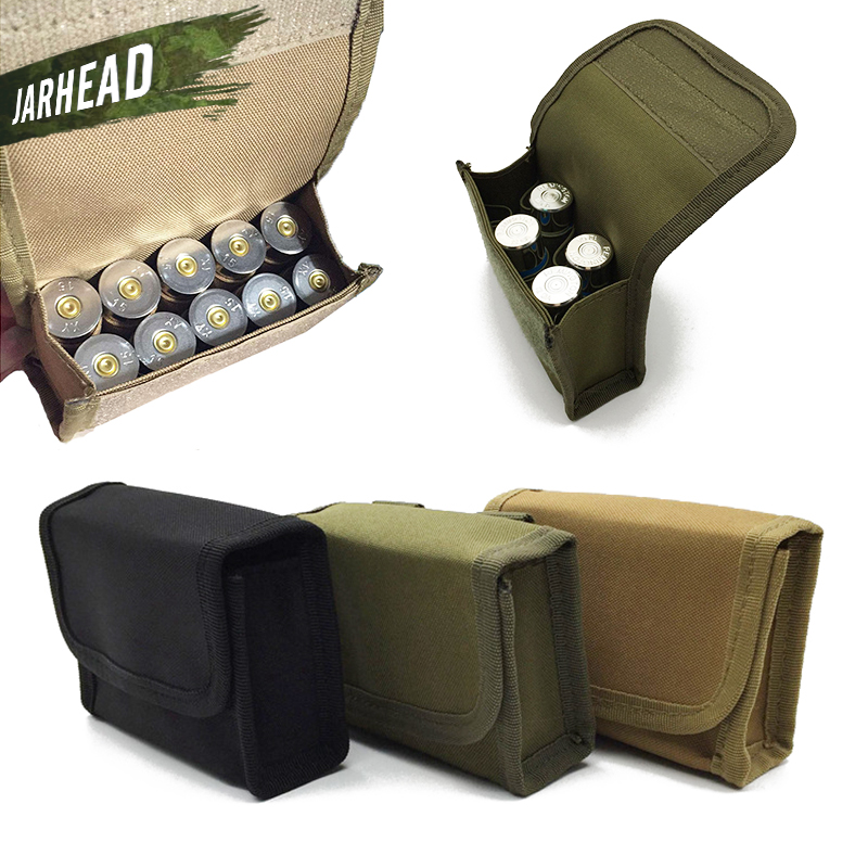 10 Rounds Bullet Pouch Military Hunting Molle Ammo Carrier Pouches Outdoor Tactical Mini Shotgun Rifle Accessory Bag,2 Piece/lot