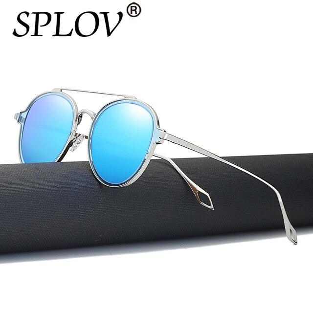 SPLOV Polarisées Femmes lunettes de Soleil Rondes De Mode Femelle Hommes  Rétro Miroir lunettes de Soleil ffeccdd48f1b