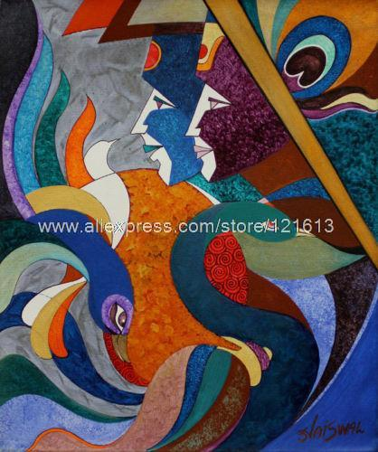 Happy Coexistence Acrylic On Canvas Hindu Painting Handmade Oil Paintings  Art Umbrella Modern Bedroom Decor Bathroom