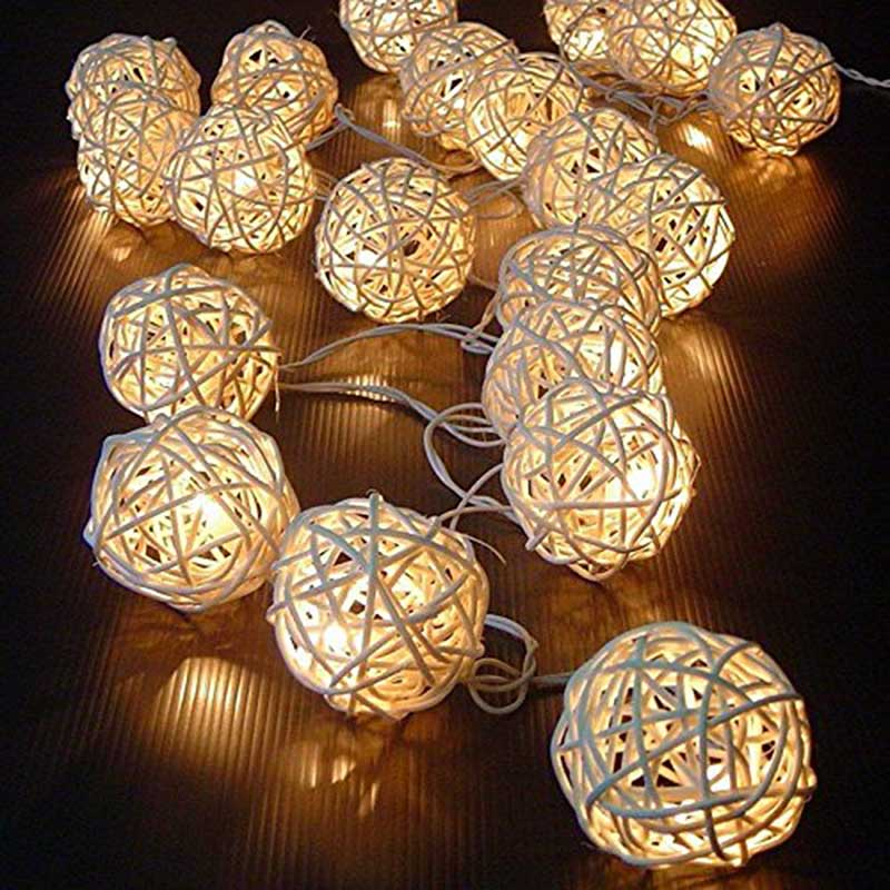 2.5 M 20 LEDs Rattan Ball String Lights Xmas Lover Wedding Party holiday Bedroom Decorations Fairy Lamp Galands Battery Operated