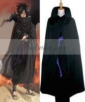 Naruto Shippuuden Uchiha Sasuke Black Cloak Cosplay Costume E001