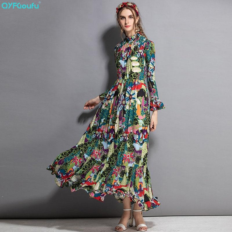 QYFCIOUFU High Quality Autumn Runway Maxi Dresses Women Long Sleeve High Quality Elegant Bow Floral Print Pleated Long Dress