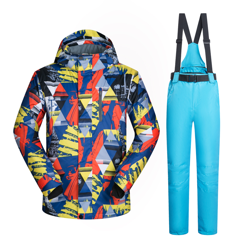Prix pour Nouveau Costume De Ski Hommes Coupe-Vent Imperméable Épaissir Vêtements Pour Hommes Snowboard Veste Et Pantalon Marque Manteau Et Pantalon Vêtements D'hiver