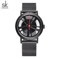 Shengke Unique Wheel Dial Women Watch Luxury Black Stainless Steel Wristwatch Ladies Bracelet Watches 2018 Relojes