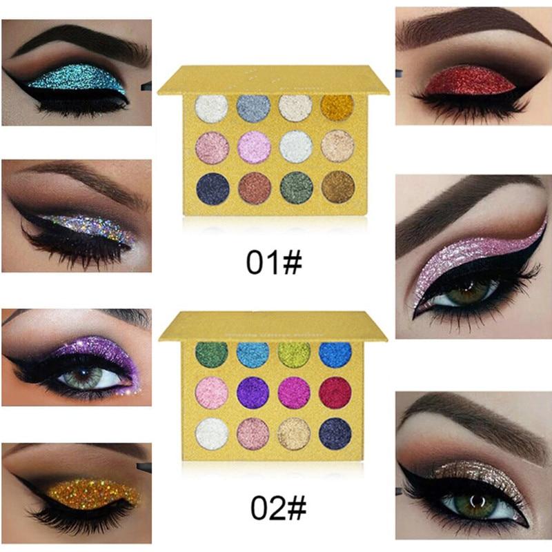 1set 12 Color Diamond Glitter Eyeshadow Palette Gold Shine Eyeshadow Glitter Shiny Eyeshadow Blue Eye Shadows Cosmetics Tool Eye Shadow